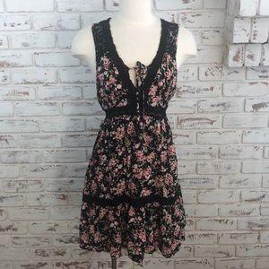 Xhilaration Floral Dress Black Pink Tie back
